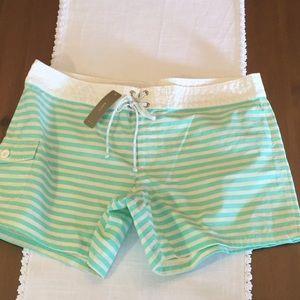 JCrew aqua striped board shorts size 12